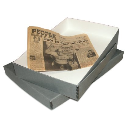 Newspaper storage box- open with newspaper inside