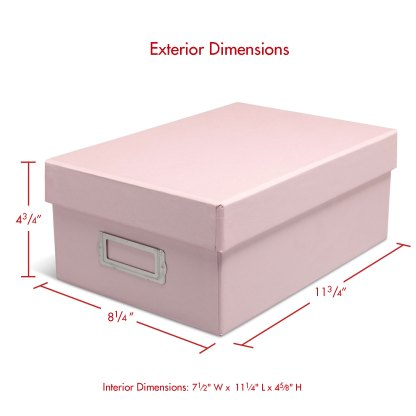 Pink photo box, closed with dimensions