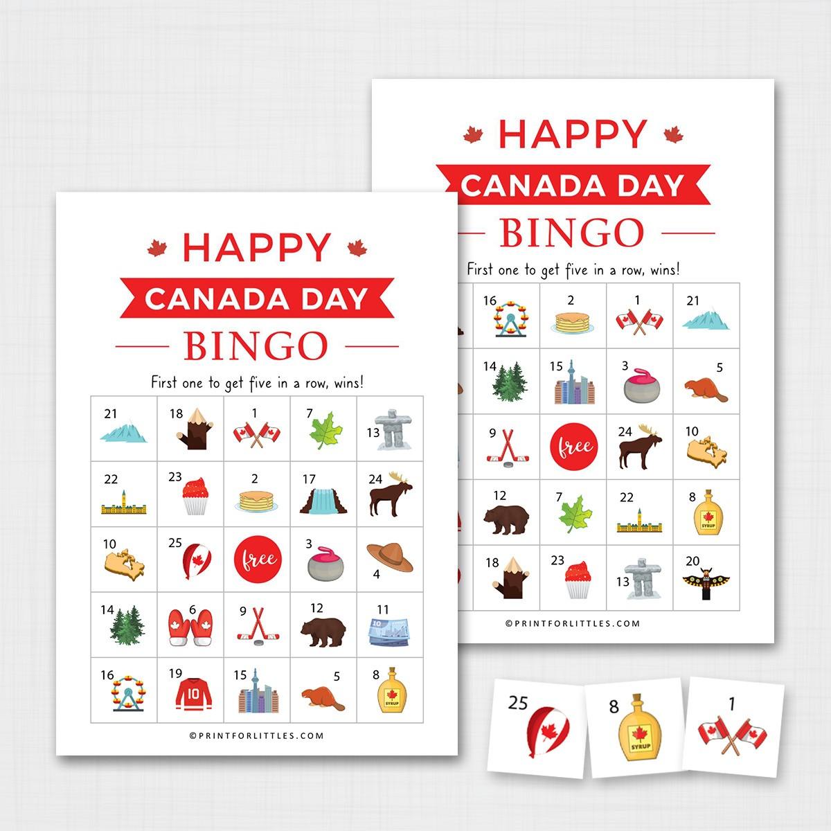 Canada Day Bingo Game Printable