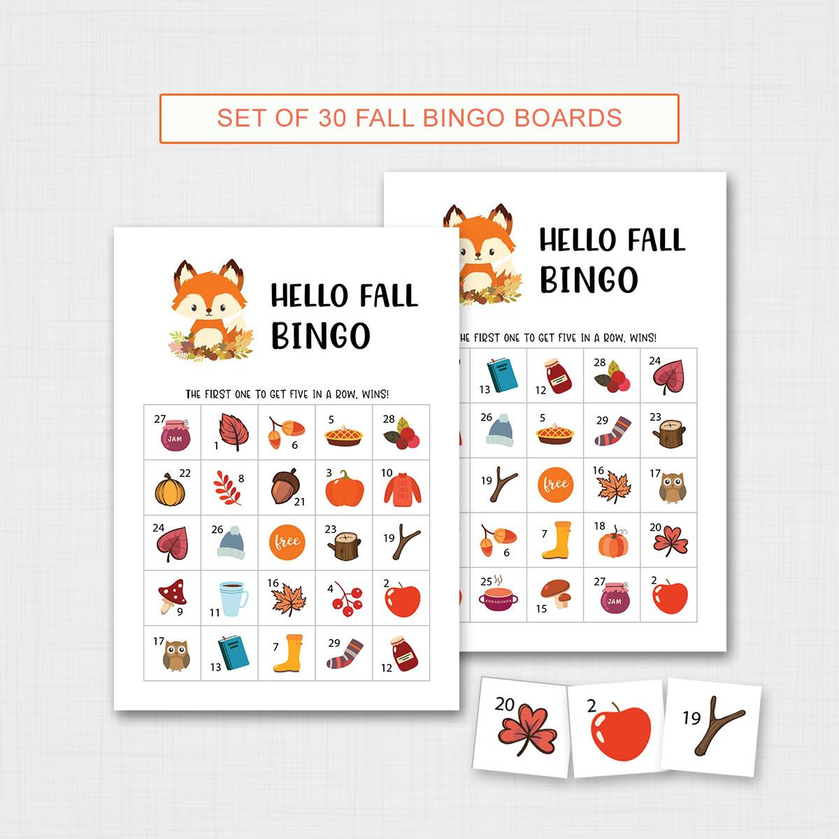 Printable Fall Bingo Game