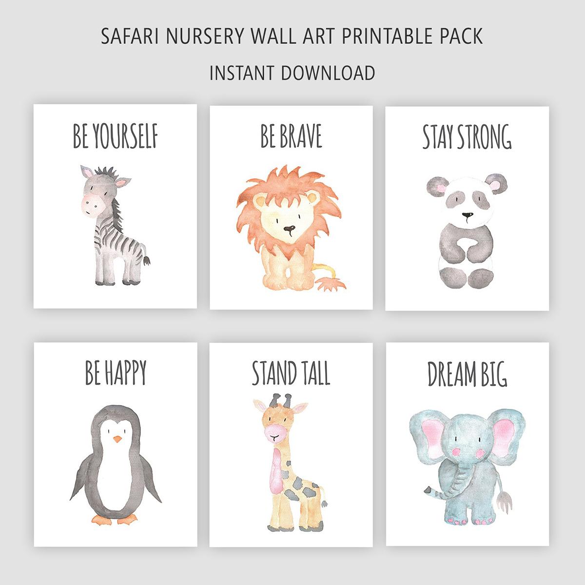 Printable Safari Animals Nursery Decor Wall Art