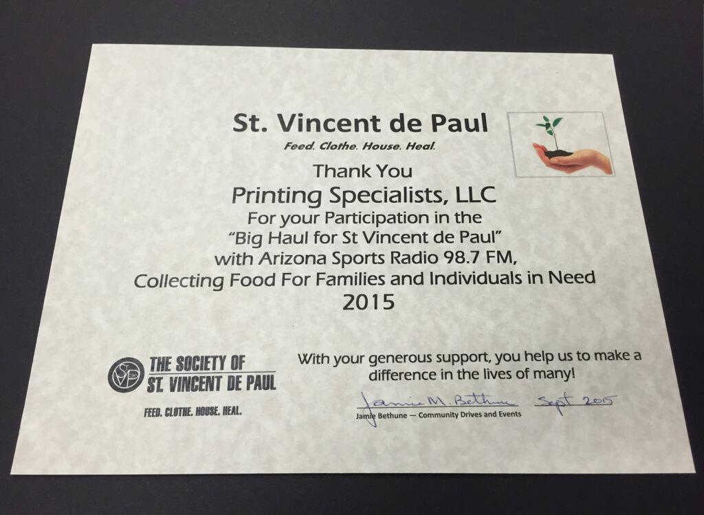 St. Vincent Certidficate