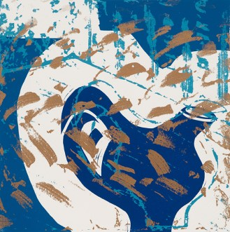 Jacki Baxter, Blue and Gold Jug, Etched and cut lino and stencils