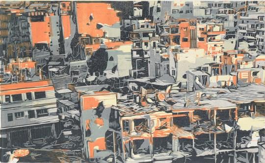 Jess Bugler, Homs, Reduction Linocut