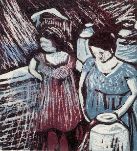 Lucie Green, Water Gathering VI, Woodcut