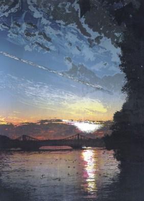 Steve Edwards, 'Chelsea Bridge - sunset', Etched Lino