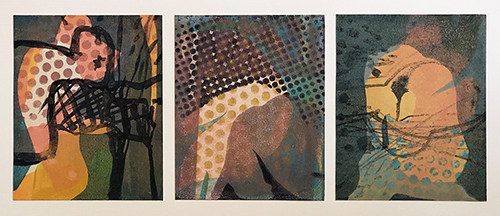 Helen Baines 'Three Figures Blue' Monoprint £275