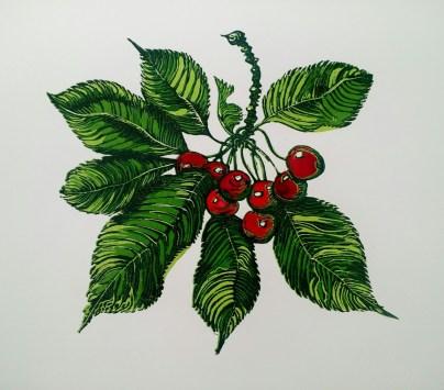Elizabeth Kelleher 'Cherry' hand coloured reduction linocut £140