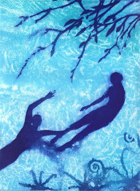 Theresa Pateman 'Swimming Selkies' etching £160