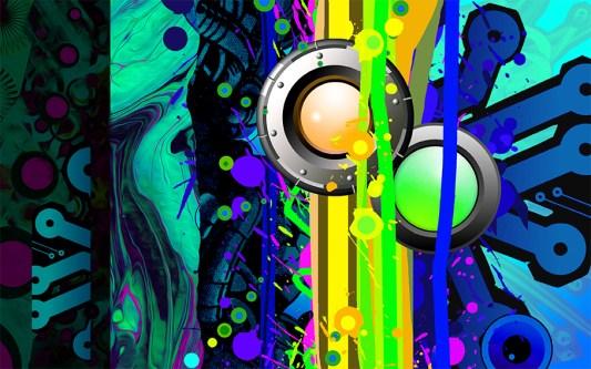 Dan Romer 'Space Pop 1' digital/woodblock/canvas £2500