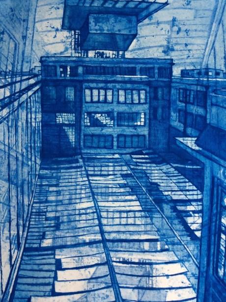 Margaret Sellars 'Fiat Factory Refit' etching £525