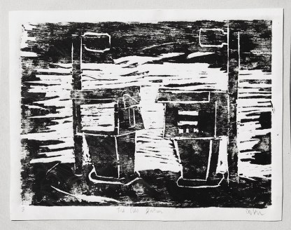 gas station woodcut