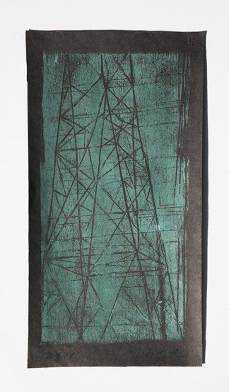 electrical tower woodcut printmaking