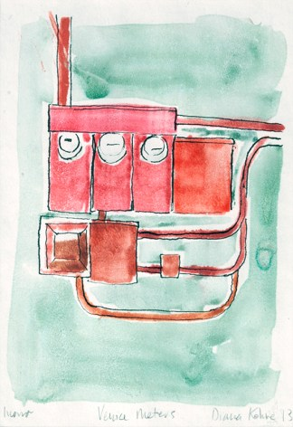 Venice CA electric meter monoprint original art printmaking monotype