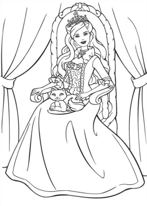 Ausmalbilder Ausmalbilder Barbie Als Die Prinzessin Und Das