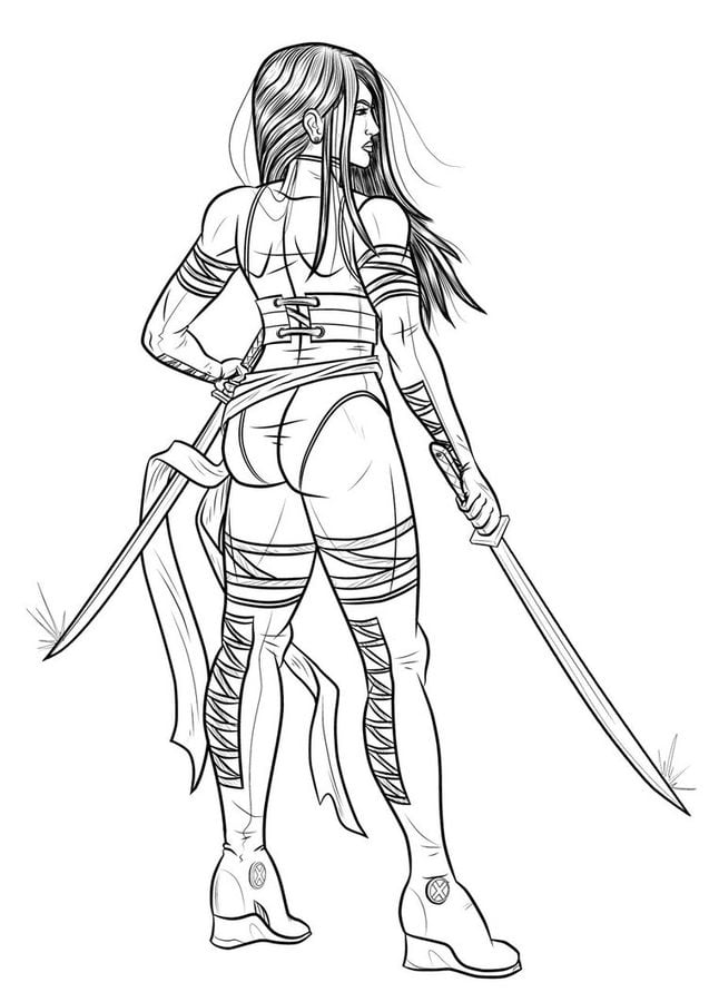 Coloring pages psylocke printable kids adults free, fish coloring pages