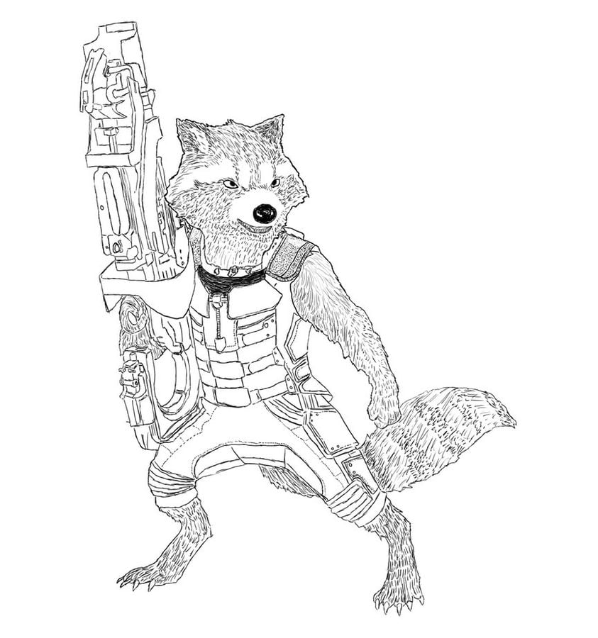 Coloring Pages Coloring Pages Rocket Raccoon Printable For Kids Adults Free