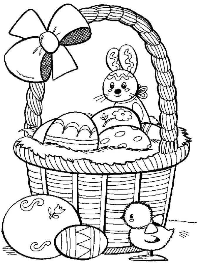 Coloring pages: Coloring pages: Easter Basket, printable for ...