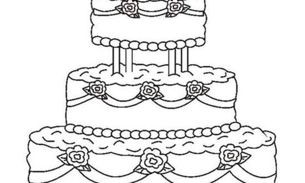 Ausmalbilder: Hochzeitstorte