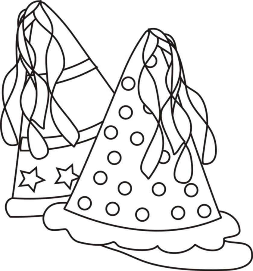 Dibujos Para Colorear Gorros De Fiesta Imprimible Gratis Para Los