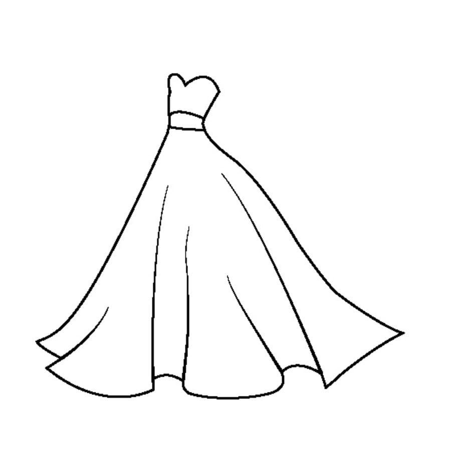 Dibujos Para Colorear Vestido De Novia Imprimible Gratis