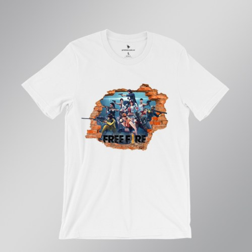 áo thun free fire background 1 - áo trắng