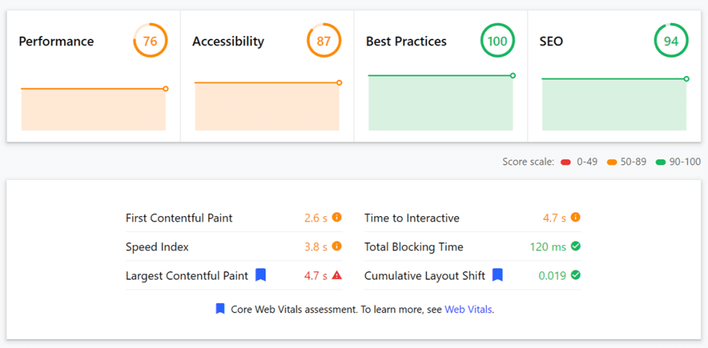 web.dev page experience score
