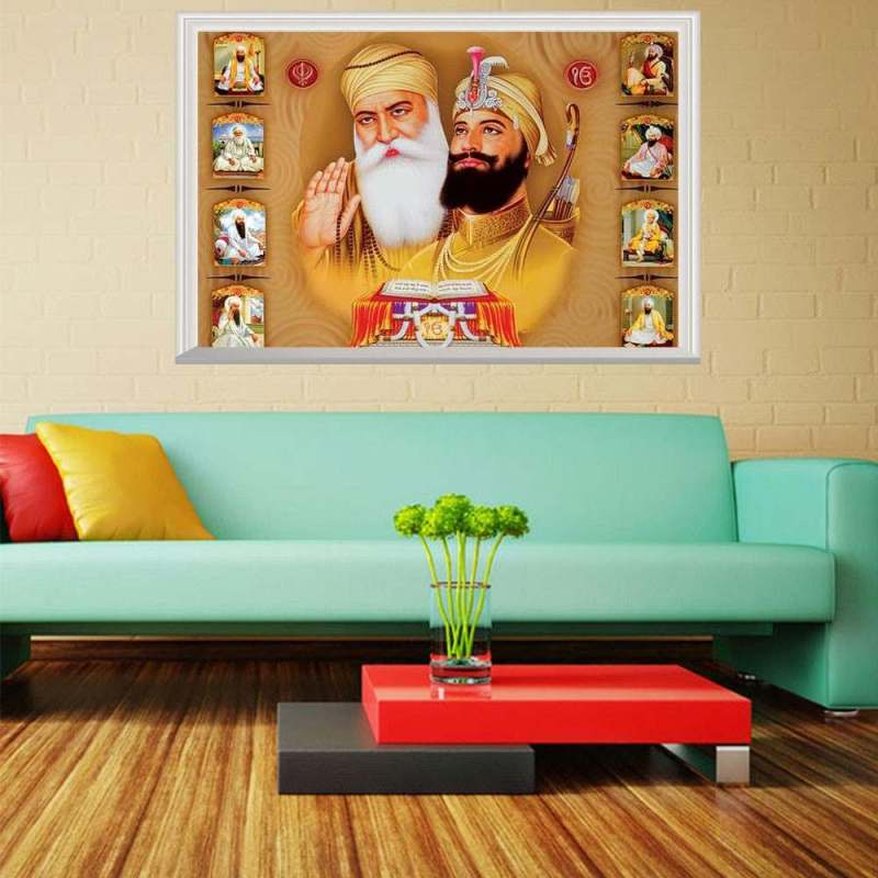 Ten Sikh Gurus Wall Art Painting