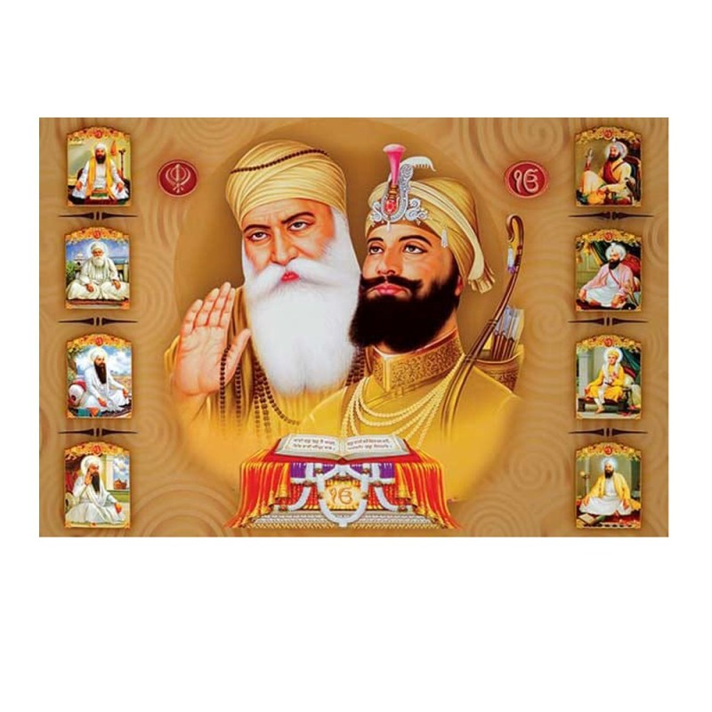 Ten Sikh Gurus Wall Painting
