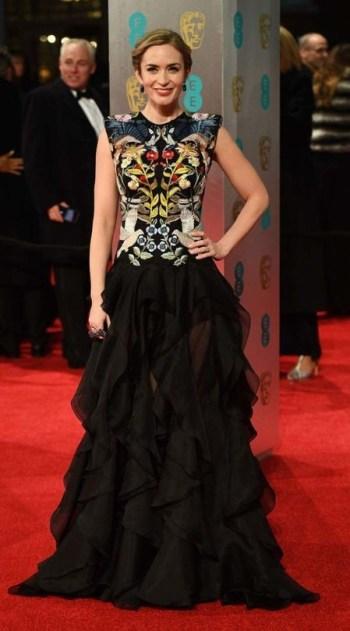 Emily Blunt in Alexander McQueen. BAFTAs 2017 Best Dressed. Image source: Vogue Australia.