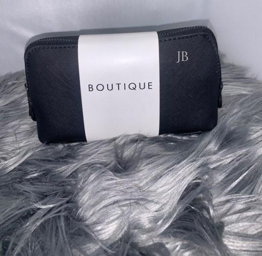 black mini personalised make up bag