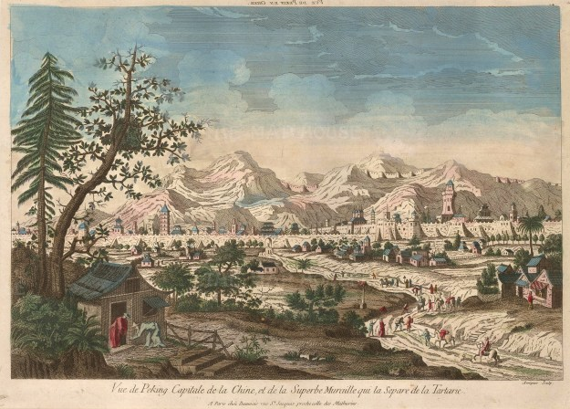 Peking: Panorama of the city looking North: With the Great Wall and Xishan and Yanshan mountain ranges in the distance.