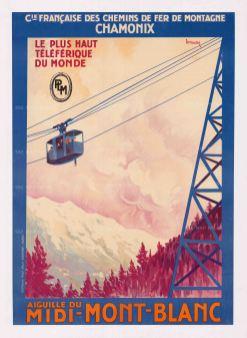 Chamonix: Le Plus Haut Telefrique du Monde, Francaise des Chemins de Fer de Montagne promotional poster for the first Aiguille du Midi-Mont-Blanc cable car in assoctian with PLM (Paris-Lyon-Mediterannee Railways). By Henri Dormoy.