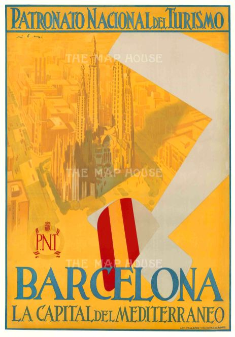 Barcelona: La Capital del Mediterraneo. Art Deco poster of a biplane decorated with the Spanish flag passing Gaudi's famous church La Sagrada Familia.
