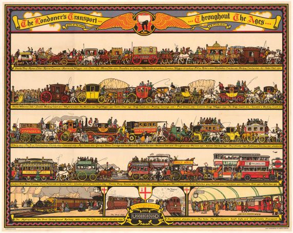 London Transport: The Londoner's Transport Throughout the Ages. Quad Royal poster showing the development in the means of travel Overground & Underground.