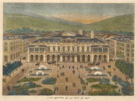 "Illustrated London News: Casino Municipal, Nice. 1882. A hand coloured original antique wood engraving. 11"" x 8"". [FRp1603]"