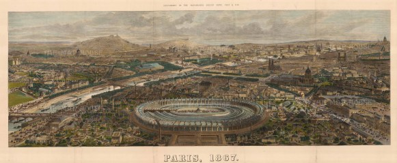 From the Champ de Mars and the main building of the 1867 International Exposition.