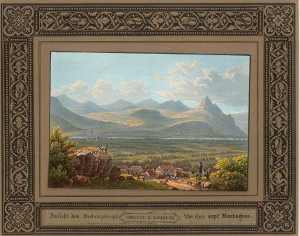 """Baedecker: Siebengebirge, Rhine. c1810. An original colour antique lithograph. 8"""" x 6"""". [GERp1189]"""