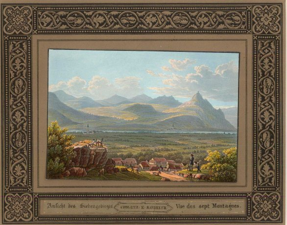 "Baedecker: Siebengebirge, Rhine. c1810. An original colour antique lithograph. 8"" x 6"". [GERp1189]"