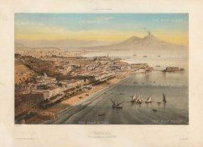 Naples: Balloon View from Chiaia beach at Forio. Looking towards Castello Arogonese at Ischia, and Mount Vesuvius.