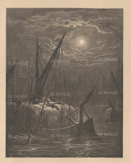 Hay-boats on the Thames. Moonlit scene from the famous French artist's four year 'pilgrimage' through London.