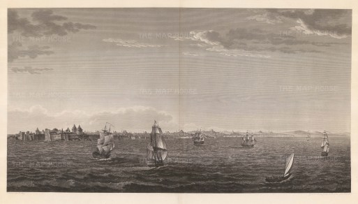 Panorama from the Sea of Mamara: Showing the coastline from the Chateau of the Seven Towers to the Escurial with galleons on approach.