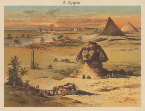 """Kronheim: The Sphynx, Obelisk, and Pyramids. c1870 An original antique chromolithograph. 11"""" x 8"""". [EGYp1151]"""