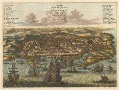 Alexandria: Panorama of the City and Port with key in Dutch and French. After the 1665 view by Arnoldus Montanus.