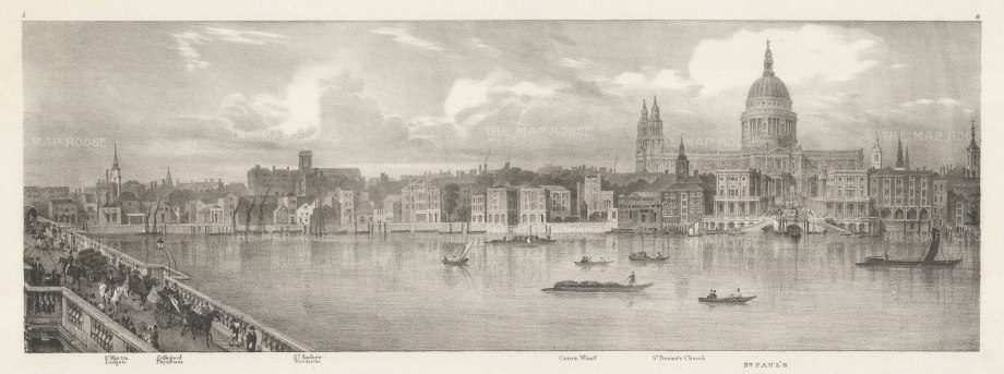 "Trench: St Paul's. An original antique lithograph. 23"" x 9"". [LDNp10473]"