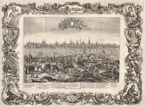 RARE Constantinople: Panorama with key and allegorical baroque border: The city's Ottoman name is deliberately ignored in reference to its Christian heritage, even as Europeans and particularly the French are intensifying commerce and developing ties with the Empire.