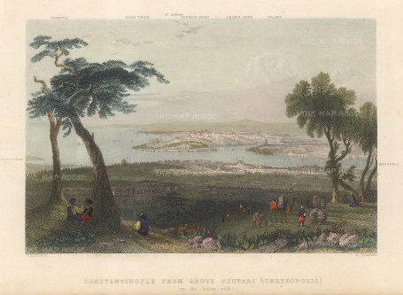Bartlett: Istanbul. 1838. A hand-coloured original antique steel-engraving. 5 x 3 inches. [TKYp1299]