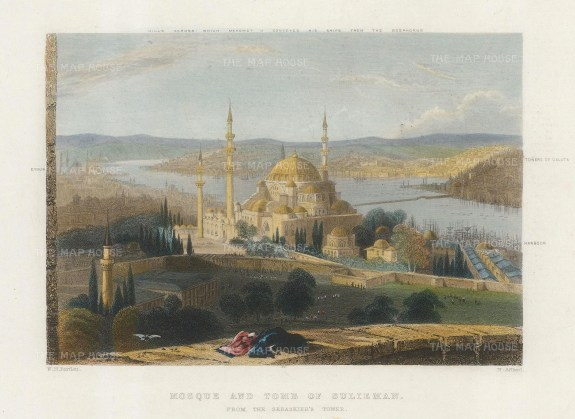 SOLD. Panoramic view from Seraskier's Tower over the tomb of Sulieman: From Eyoub to Galata with key.