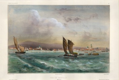 Manila. View of the city from the sea with traditional sailing boats in the foreground. After Theodore-Auguste Fisquet, artist on the voyage of La Bonite 1836-7.