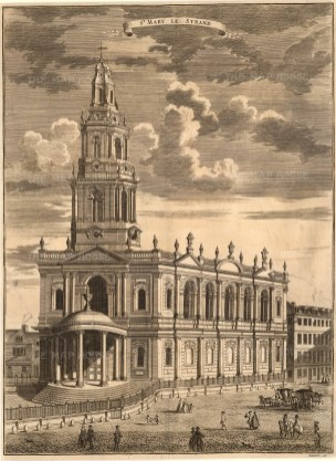 Stow: St. Mary le Stand. 1754. An original antique copper-engraving.14 x 18 inches. [LDNp9153]